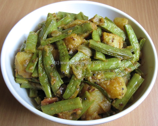 Now Cluster Beans with Potato Stir Fry is ready. Serve hot with rice ...