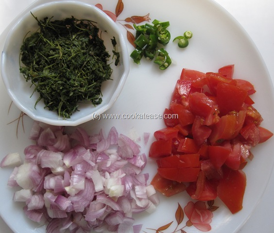 Heat a pan with oil and add cumin seeds; then add onion, green chilli ...